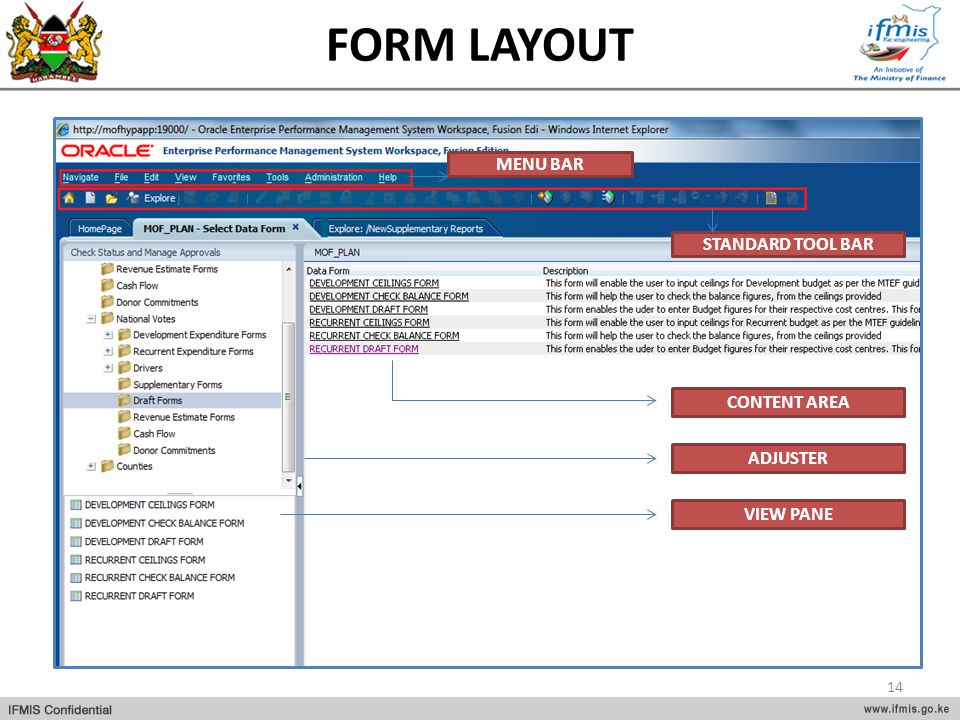 FORM LAYOUT MENU BAR STANDARD TOOL BAR CONTENT AREA ADJUSTER VIEW PANE