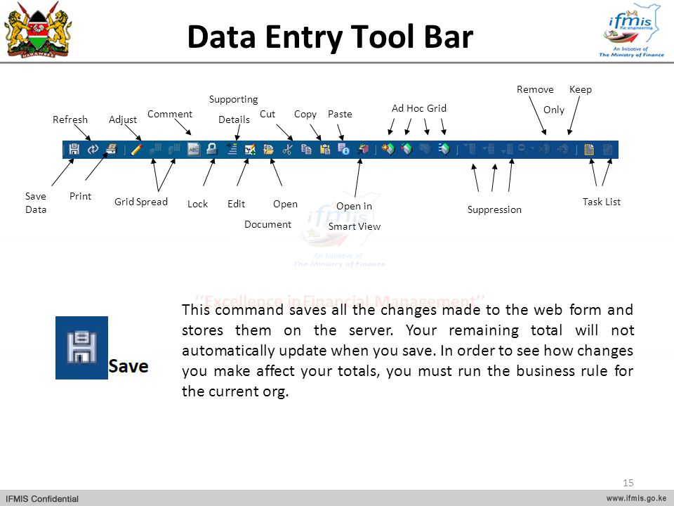 Data Entry Tool Bar Comment. Cut. Save Data. Refresh. Print. Adjust. Grid Spread. Lock. Supporting.