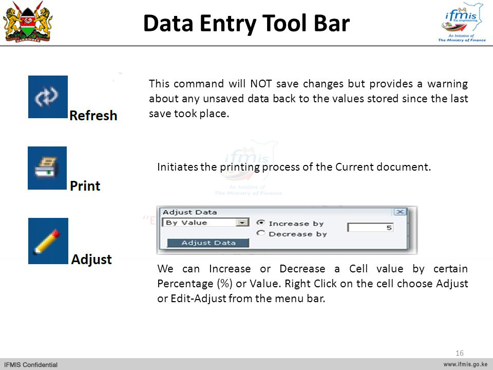 Data Entry Tool Bar