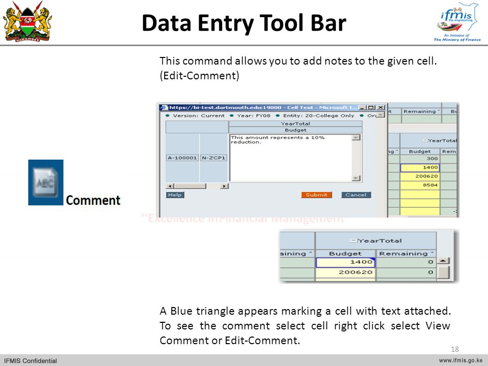 Data Entry Tool Bar This command allows you to add notes to the given cell. (Edit-Comment)