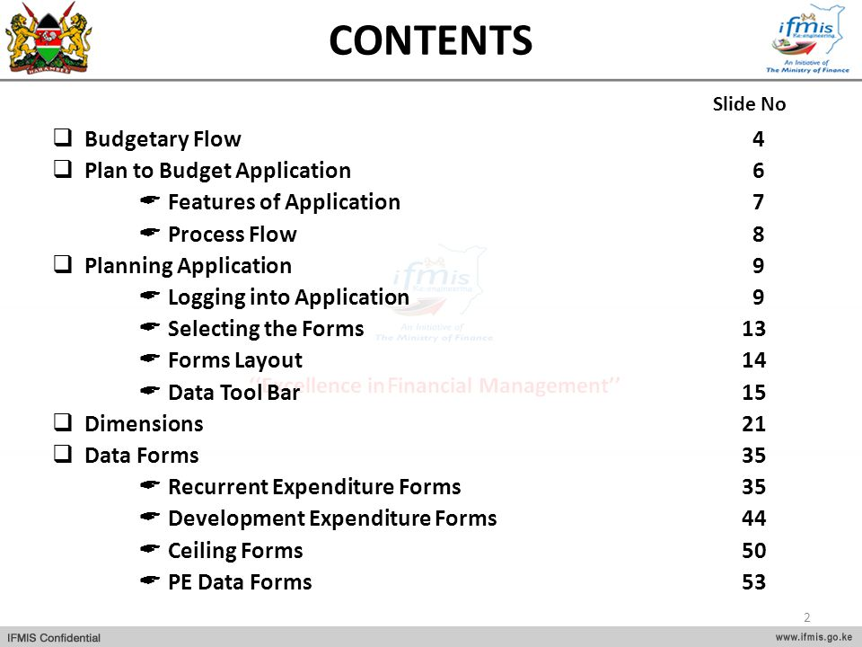 CONTENTS Budgetary Flow 4 Plan to Budget Application 6