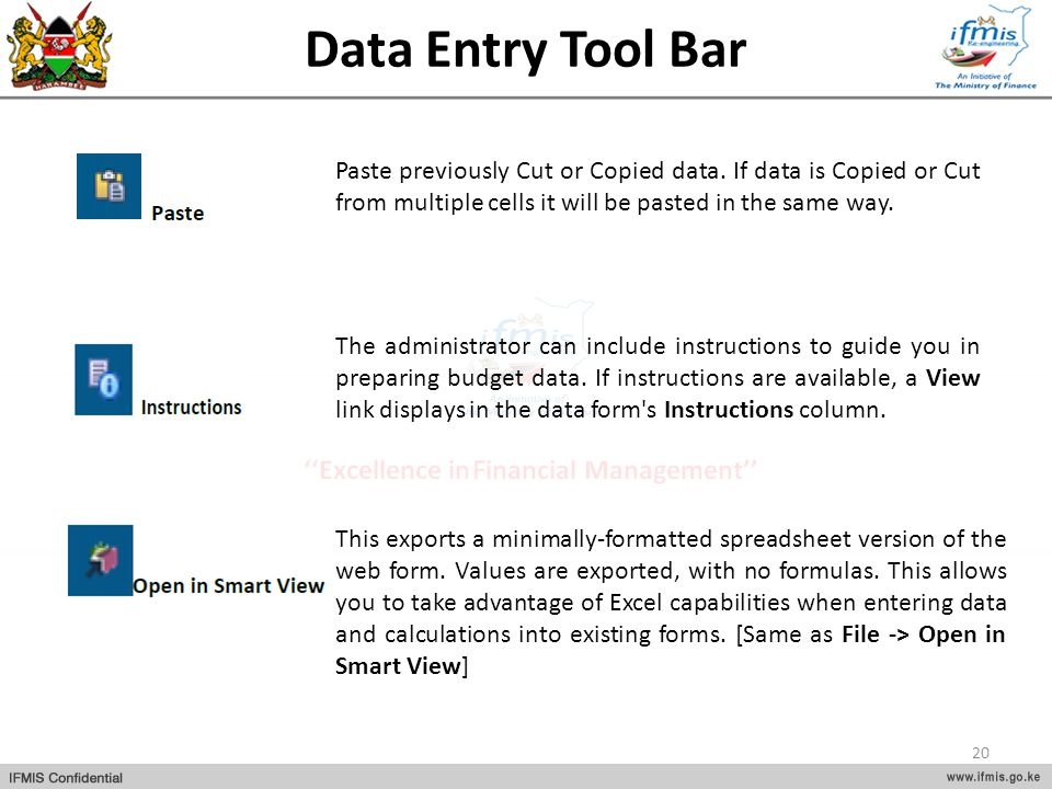 Data Entry Tool Bar Paste previously Cut or Copied data. If data is Copied or Cut from multiple cells it will be pasted in the same way.