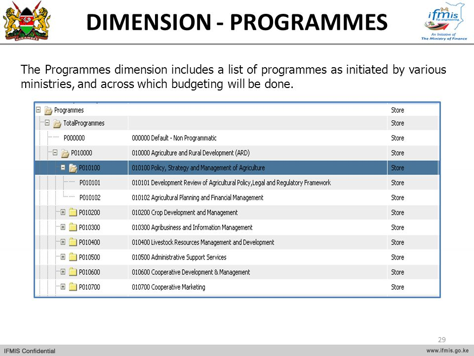 DIMENSION - PROGRAMMES