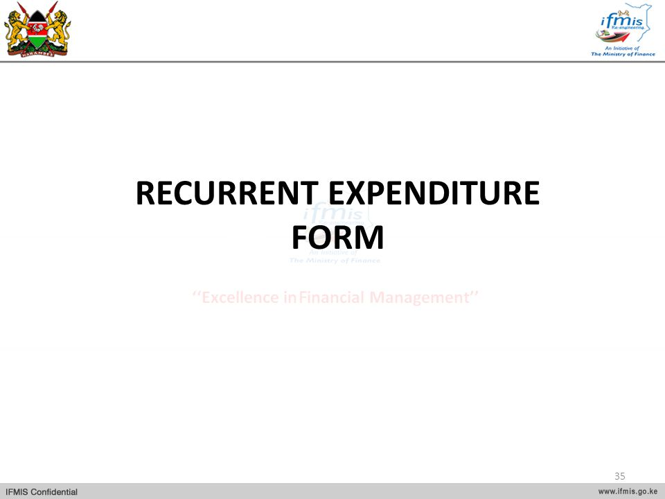RECURRENT EXPENDITURE FORM