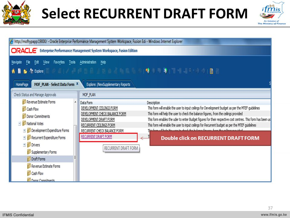 Select RECURRENT DRAFT FORM