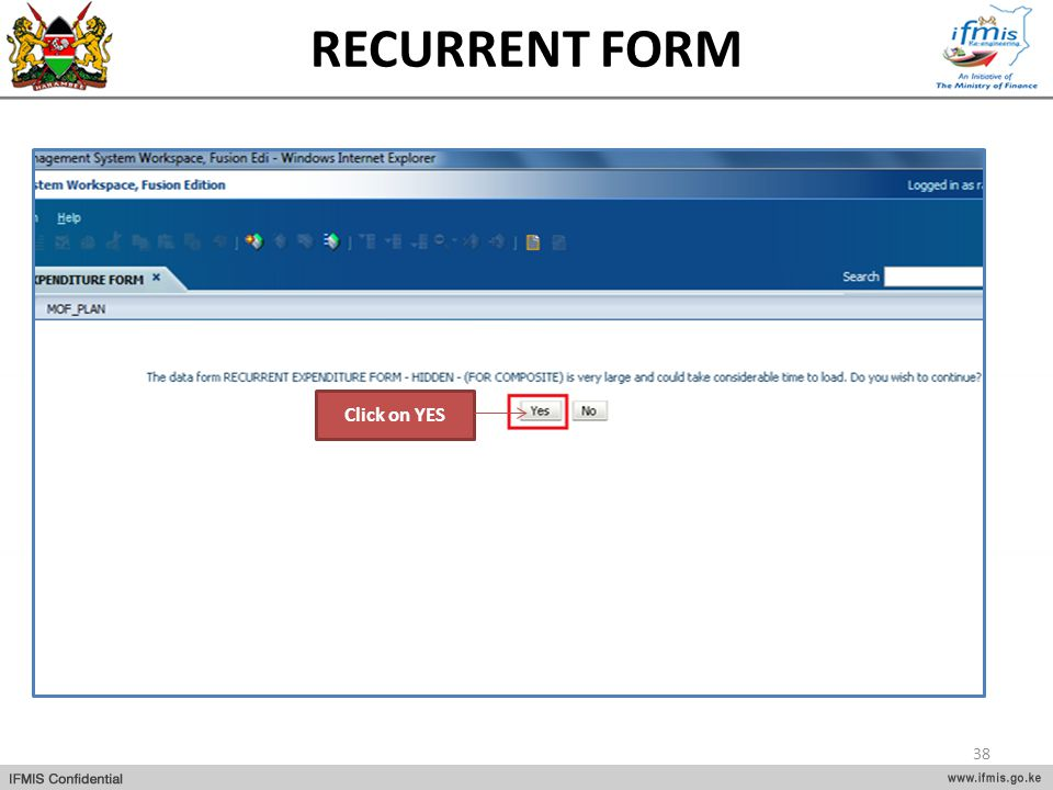 RECURRENT FORM Click on YES
