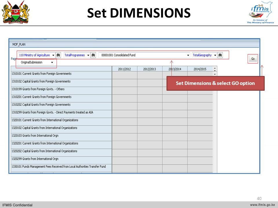Set Dimensions & select GO option