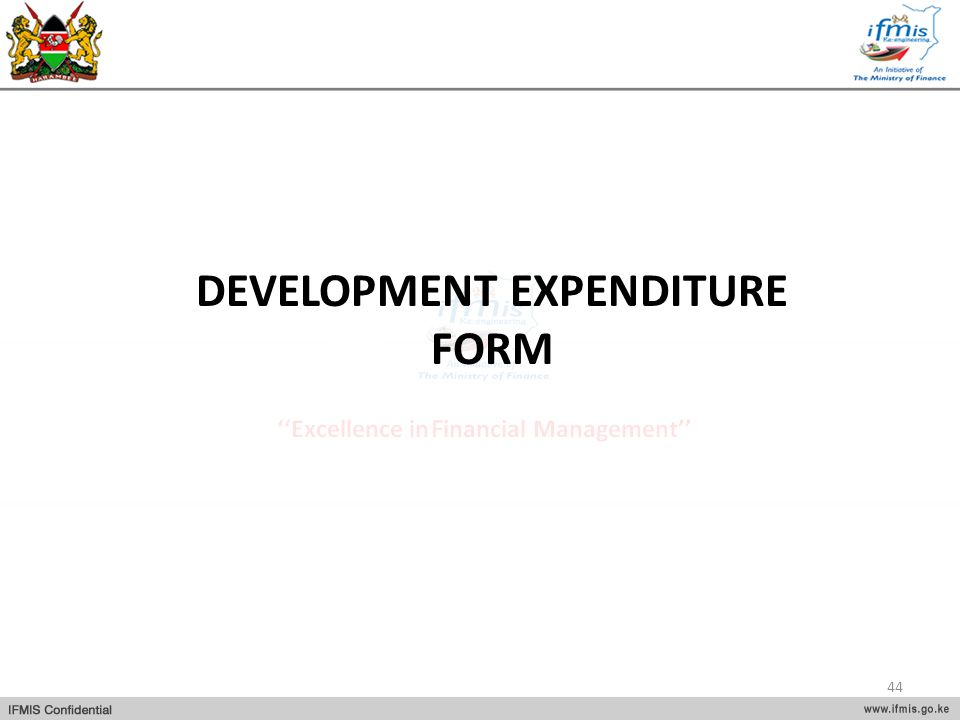 DEVELOPMENT EXPENDITURE FORM