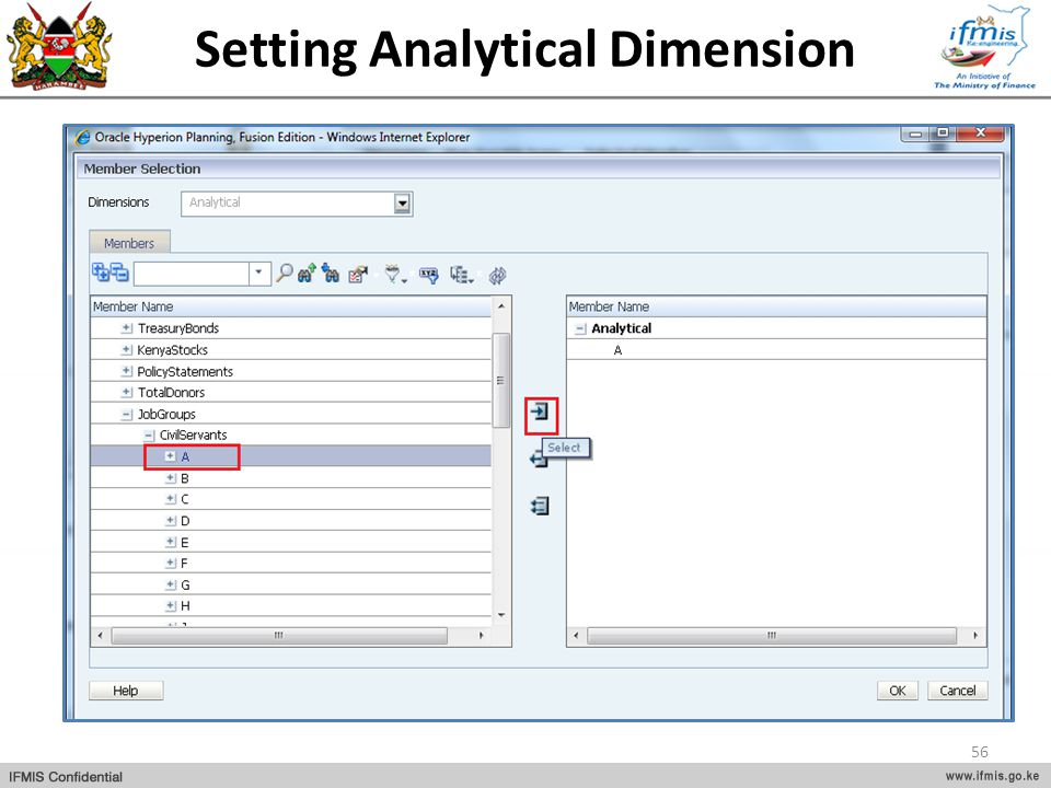 Setting Analytical Dimension