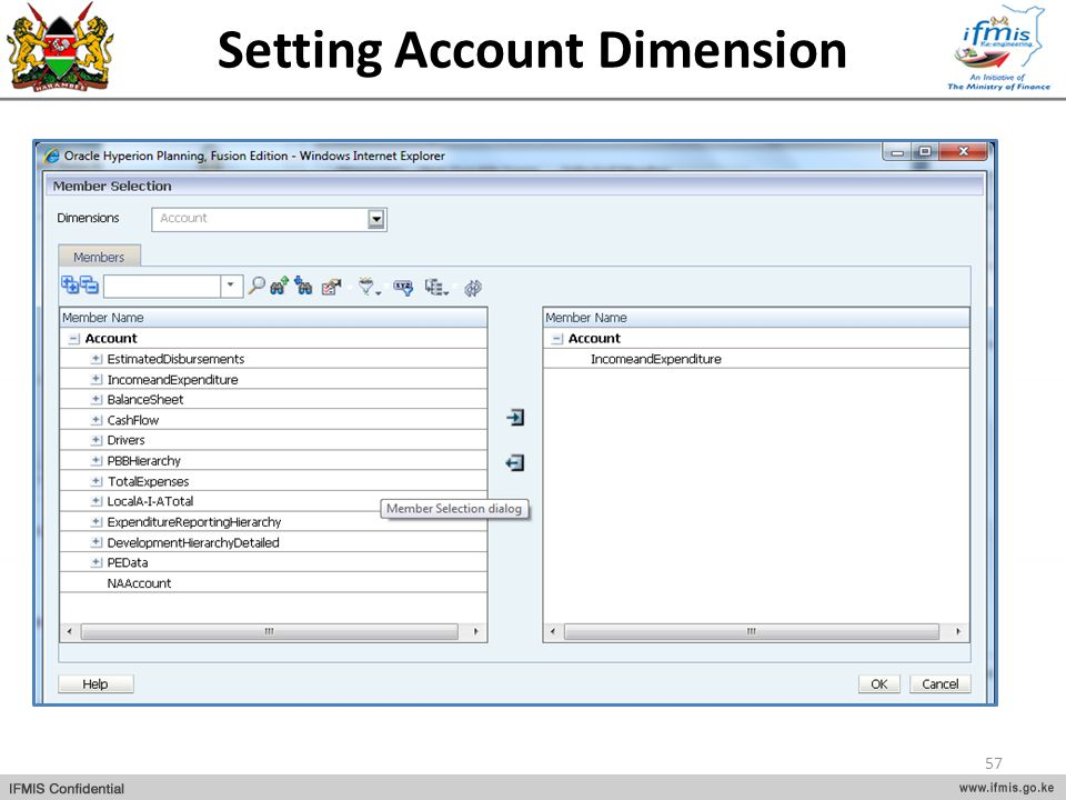 Setting Account Dimension