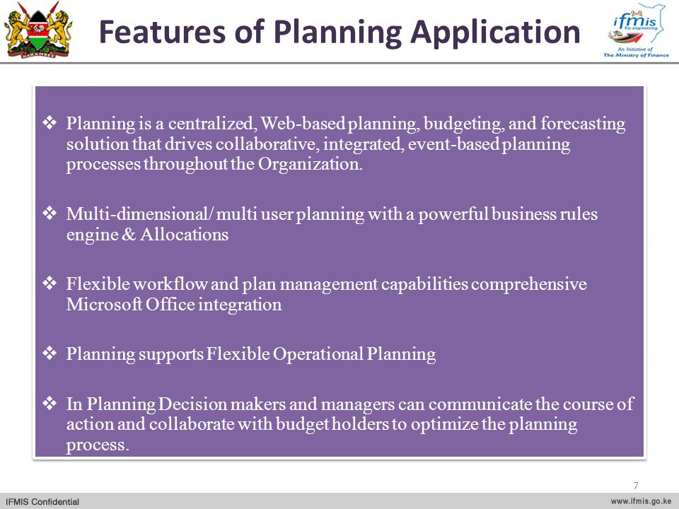 Features of Planning Application