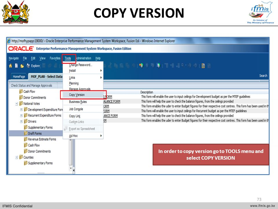 In order to copy version go to TOOLS menu and select COPY VERSION