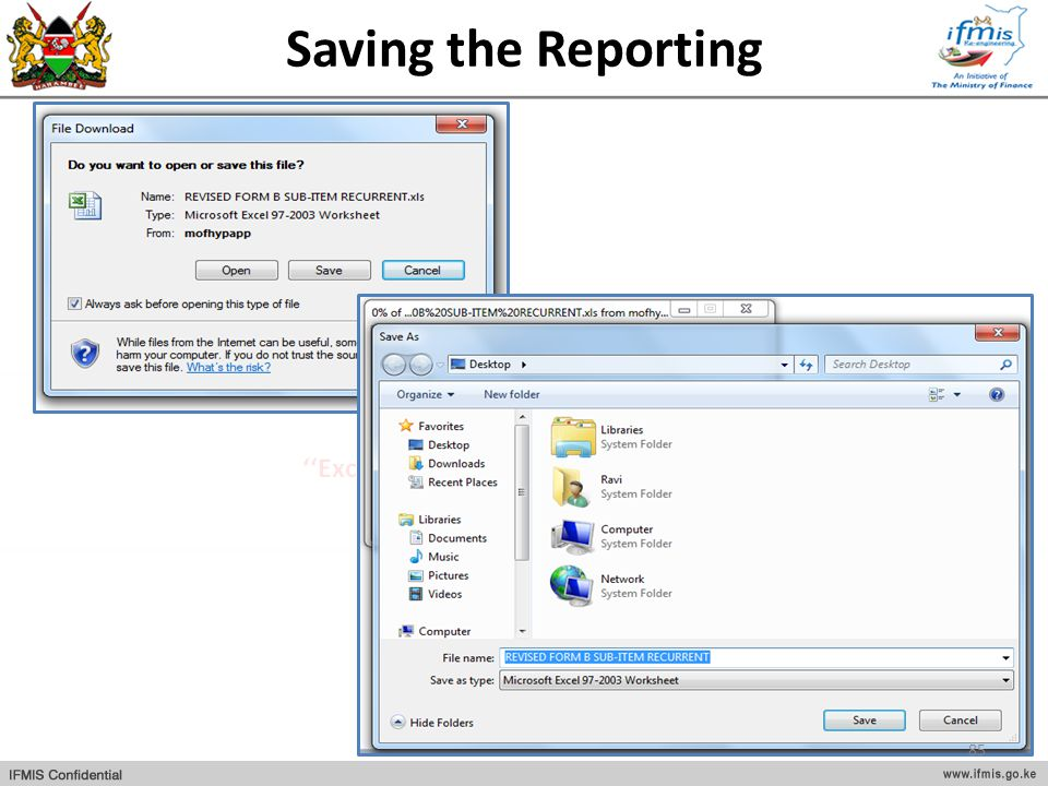 Saving the Reporting
