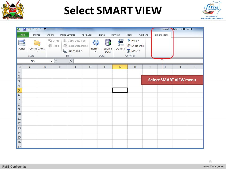 Select SMART VIEW Select SMART VIEW menu