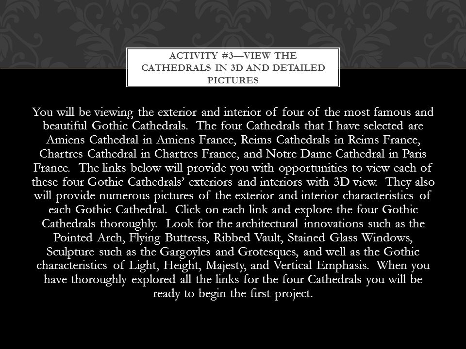 Activity #3—View the Cathedrals in 3D and detailed pictures