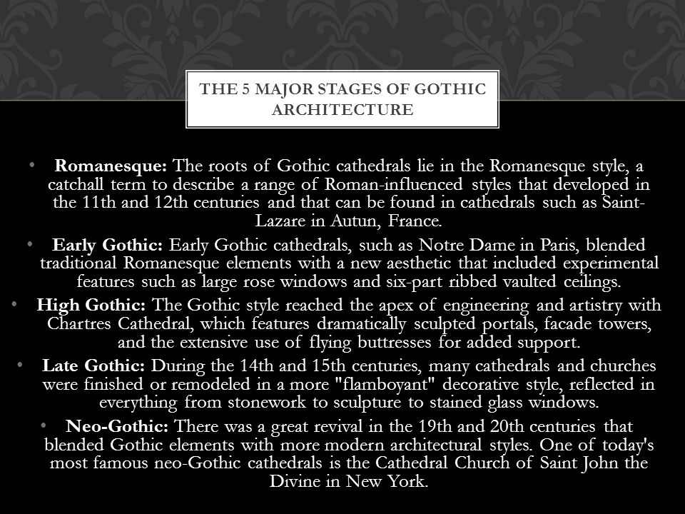 The 5 major stages of gothic architecture