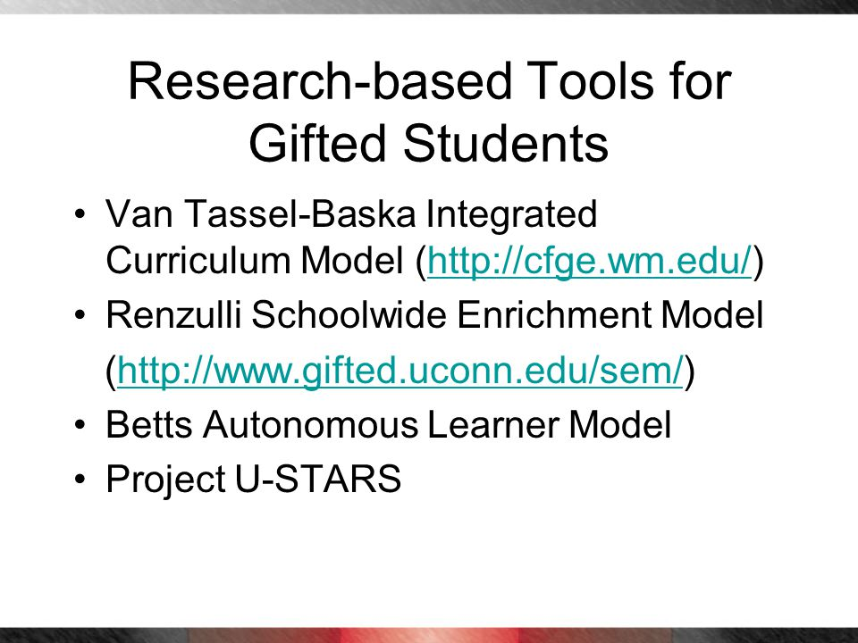 Research-based Tools for Gifted Students