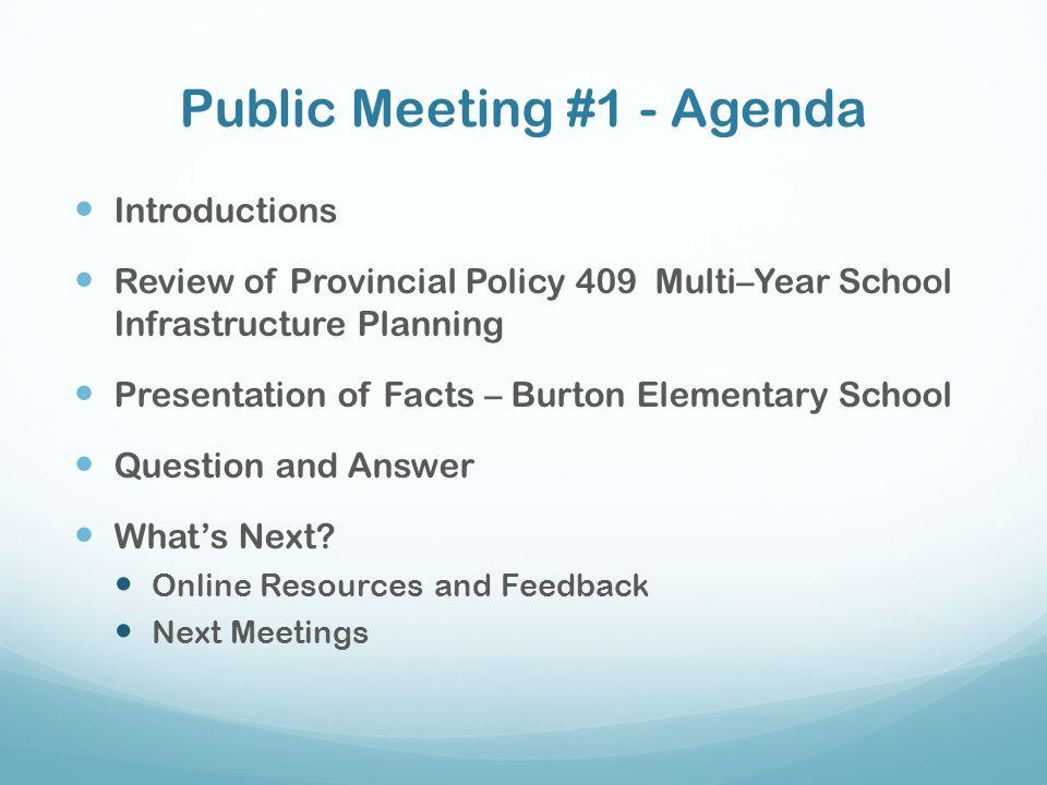 Public Meeting #1 - Agenda