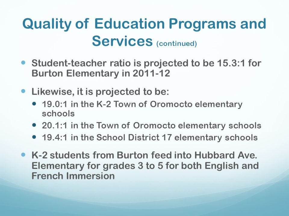 Quality of Education Programs and Services (continued)