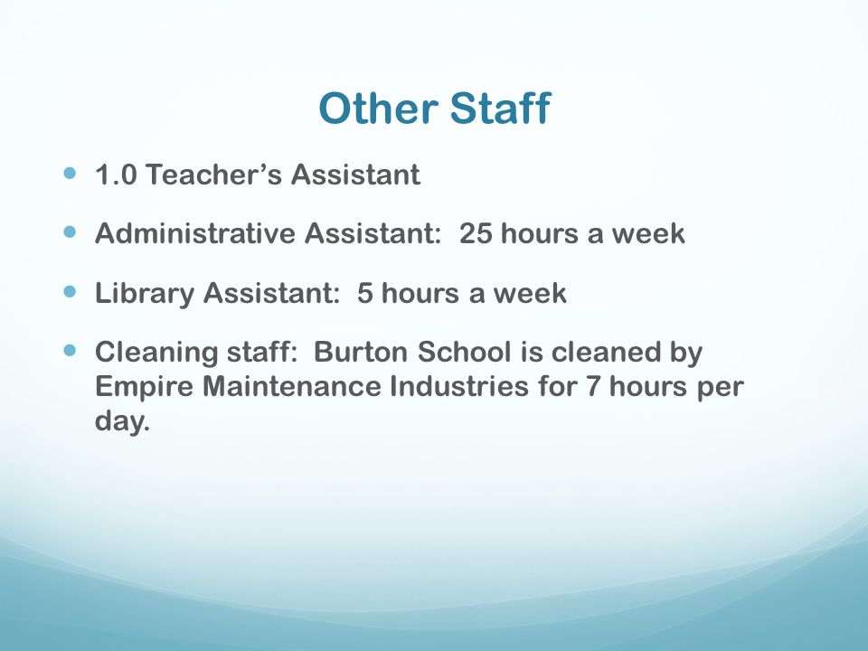 Other Staff 1.0 Teacher's Assistant