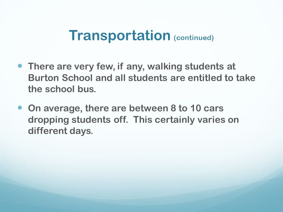 Transportation (continued)