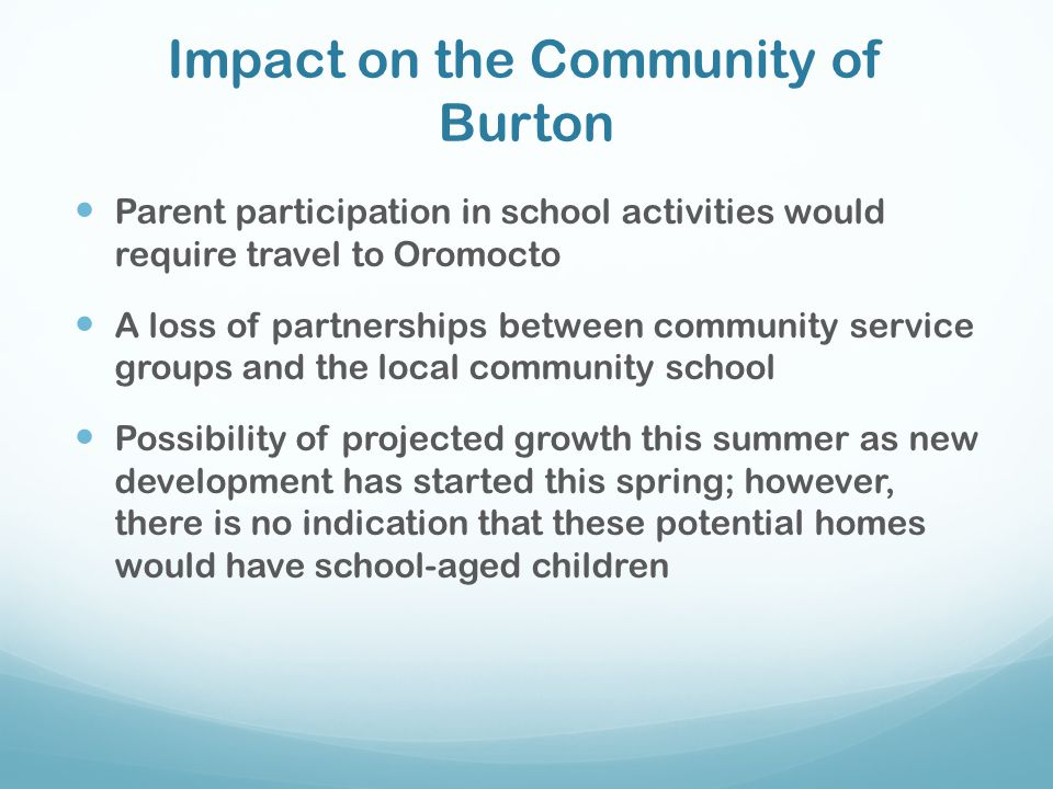 Impact on the Community of Burton