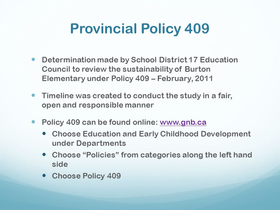 Provincial Policy 409