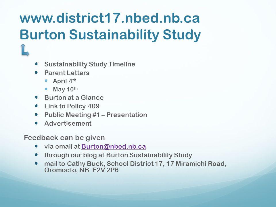 www.district17.nbed.nb.ca Burton Sustainability Study