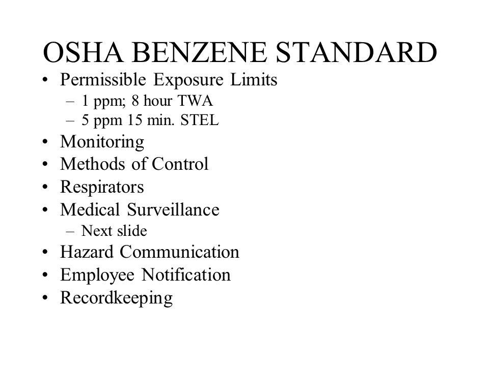 OSHA BENZENE STANDARD Permissible Exposure Limits Monitoring