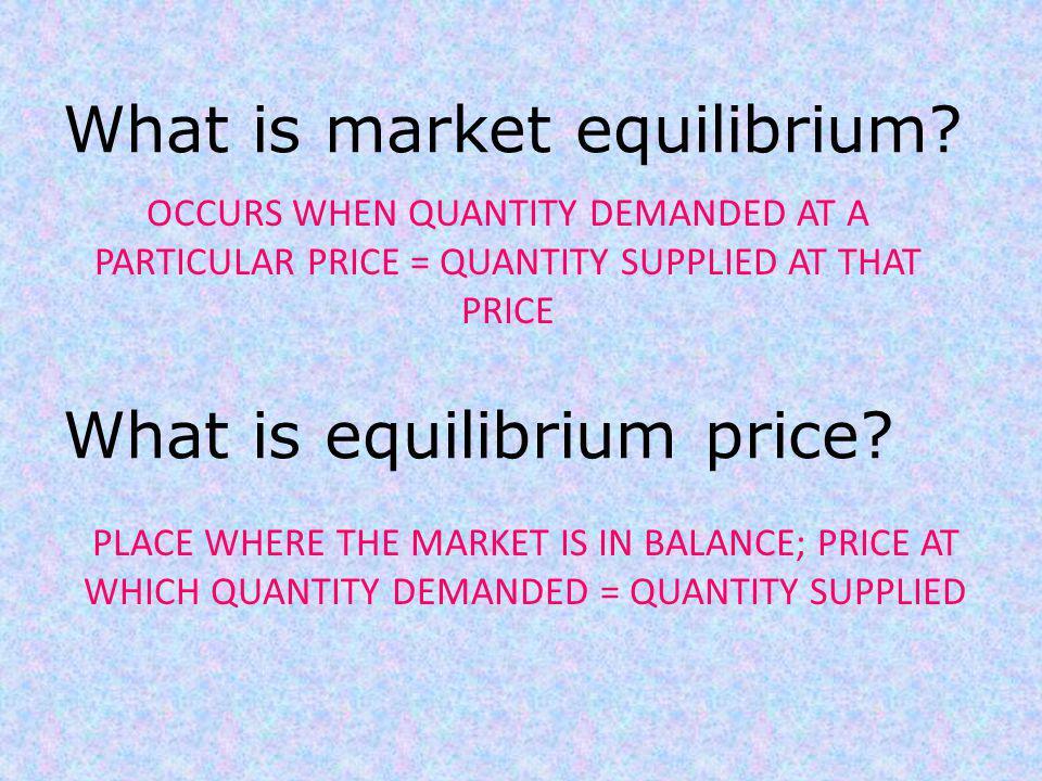 What is market equilibrium What is equilibrium price