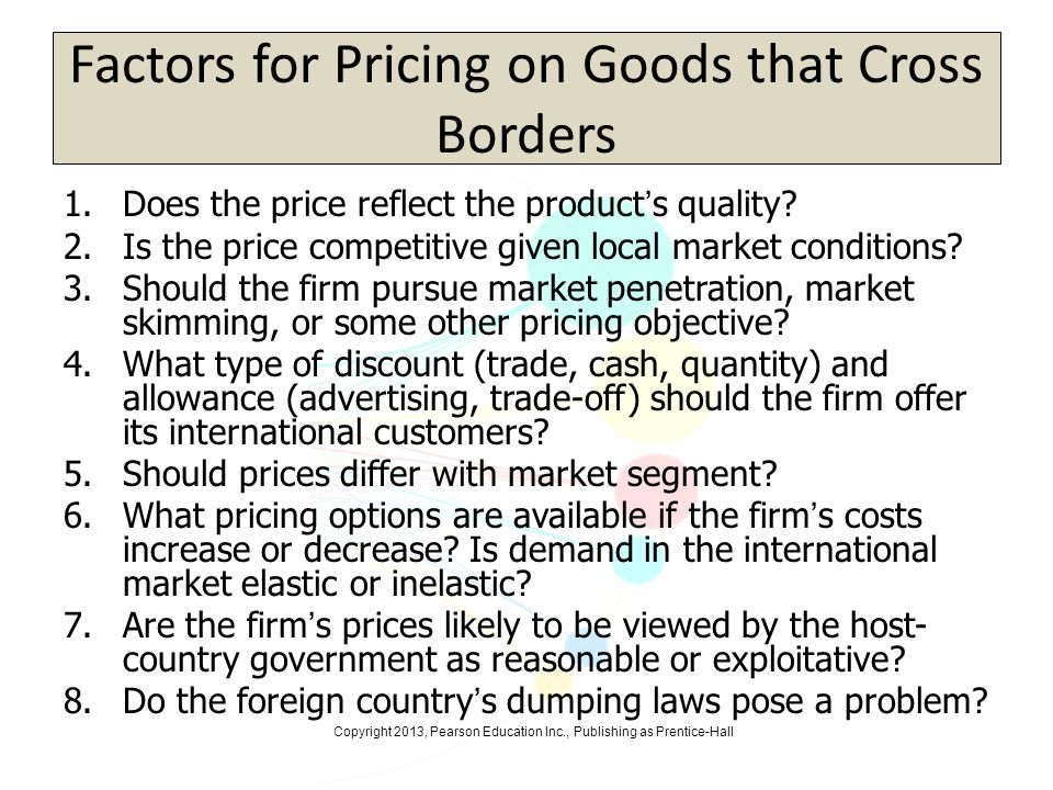 Factors for Pricing on Goods that Cross Borders