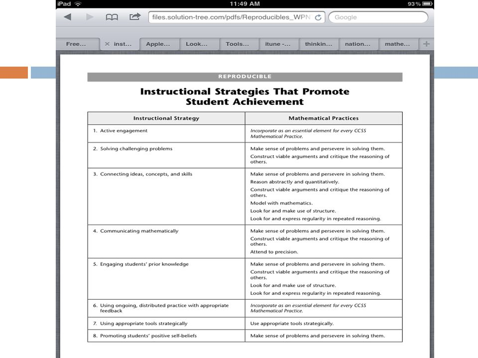 The first of these connects instructional strategies to the Mathematical Practice.