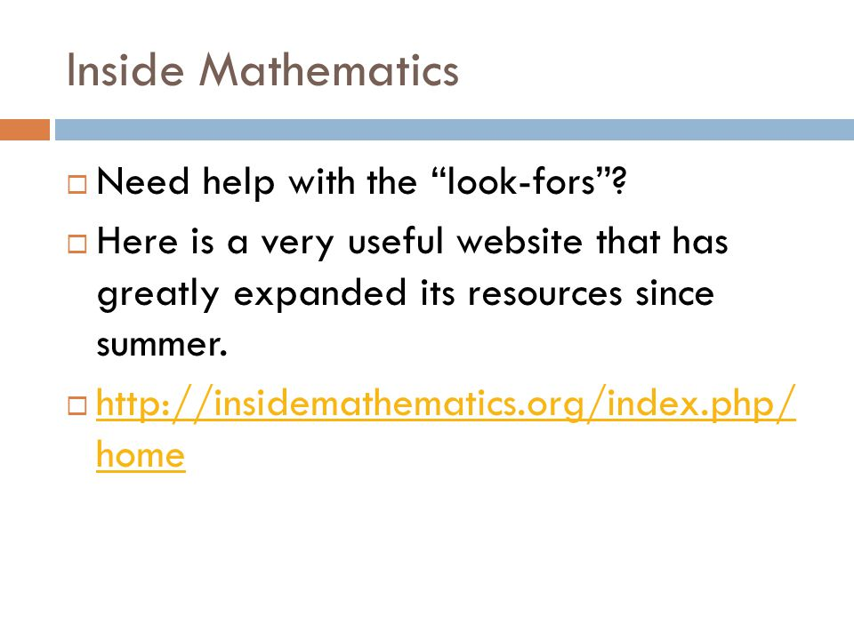 Inside Mathematics Need help with the look-fors