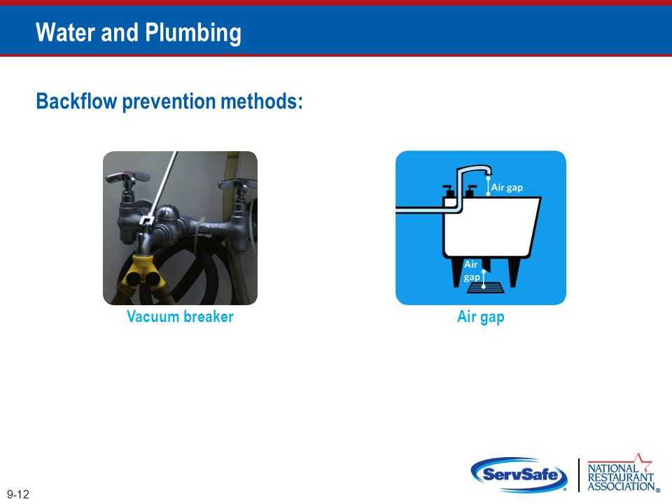 Water and Plumbing Backflow prevention methods: Vacuum breaker Air gap