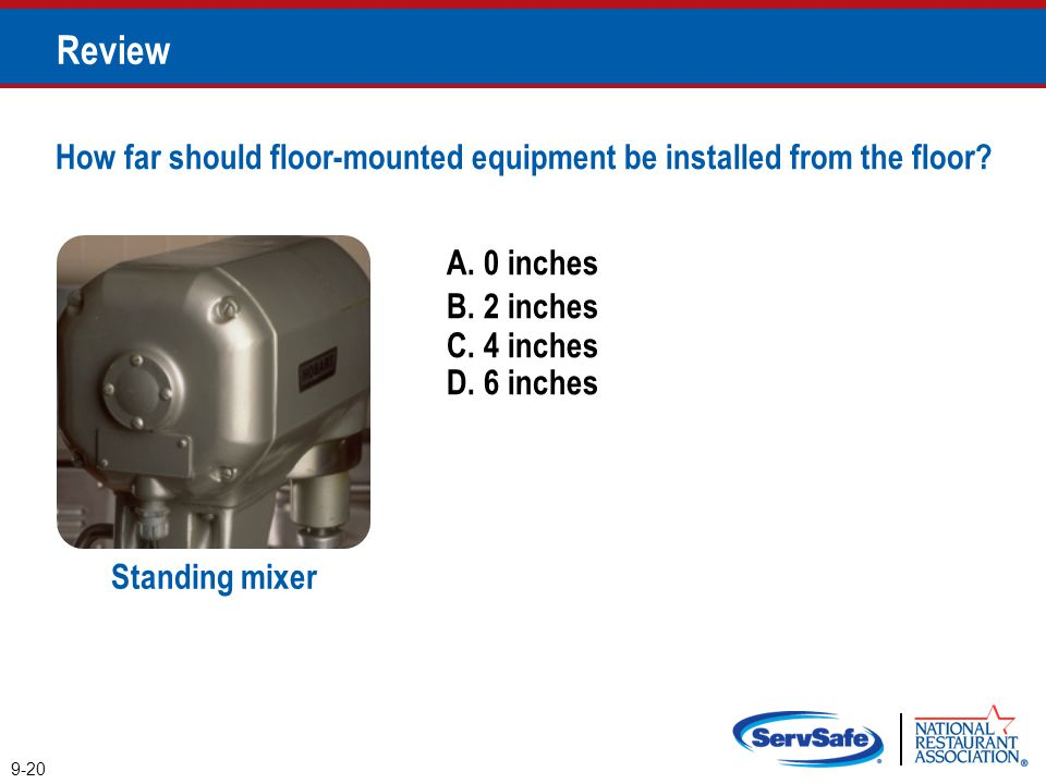 Review How far should floor-mounted equipment be installed from the floor A. 0 inches. B. 2 inches.