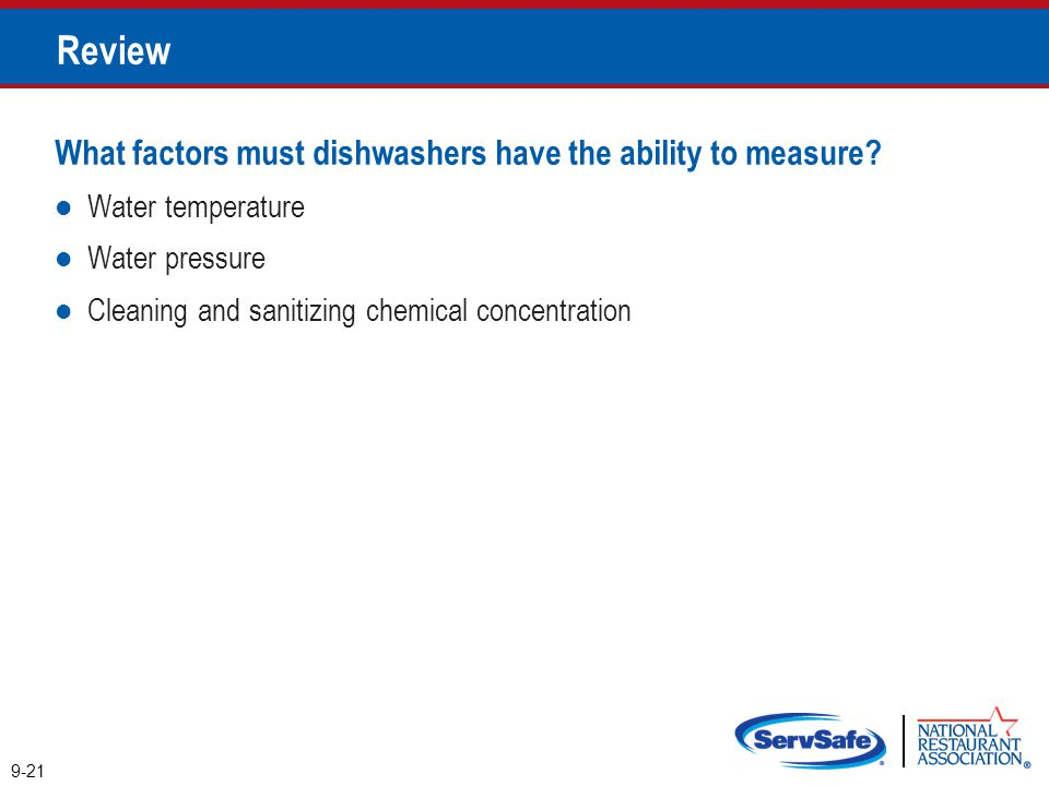 Review What factors must dishwashers have the ability to measure