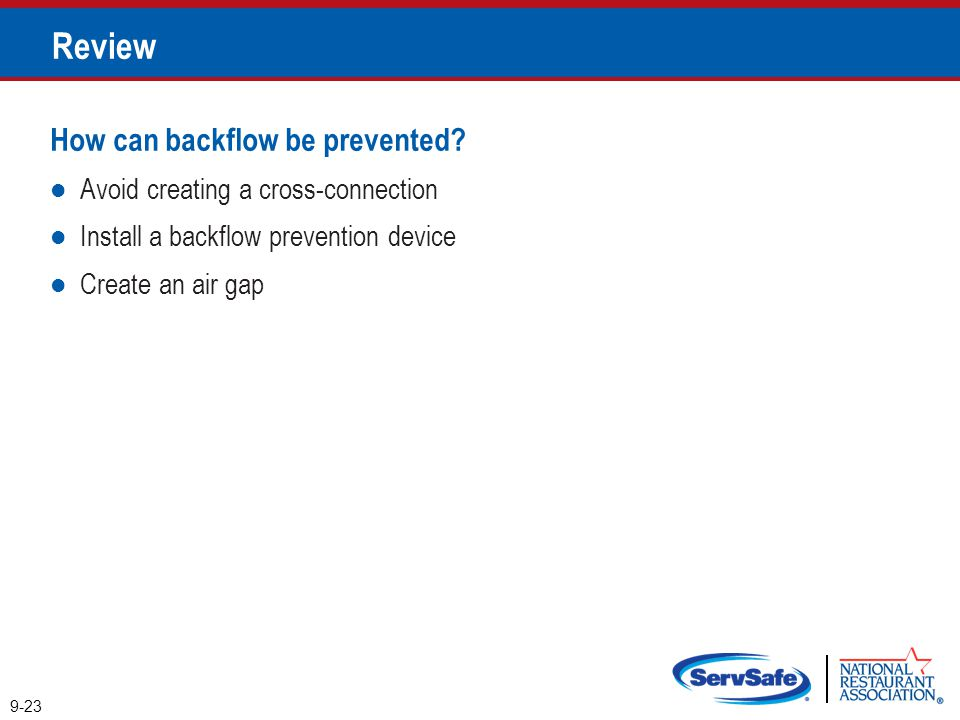 Review How can backflow be prevented