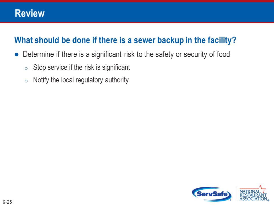 Review What should be done if there is a sewer backup in the facility