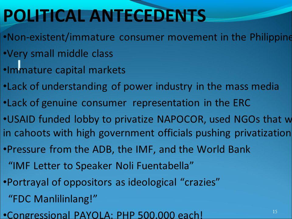 POLITICAL ANTECEDENTS