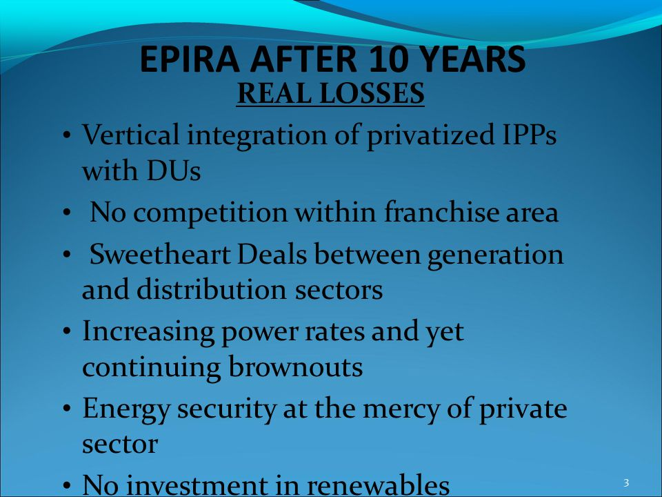 EPIRA AFTER 10 YEARS REAL LOSSES