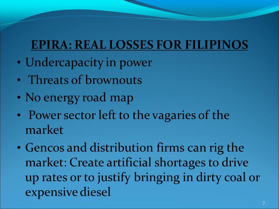 EPIRA: REAL LOSSES FOR FILIPINOS