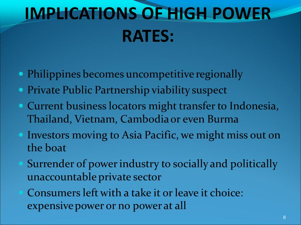 IMPLICATIONS OF HIGH POWER RATES: