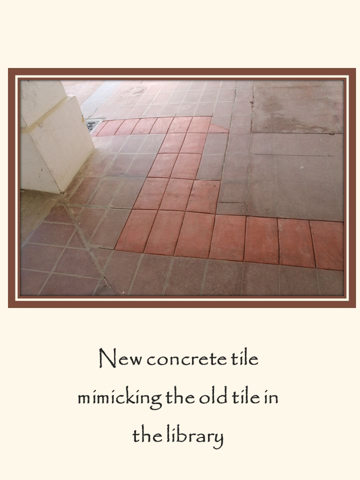 New concrete tile mimicking the old tile in the library