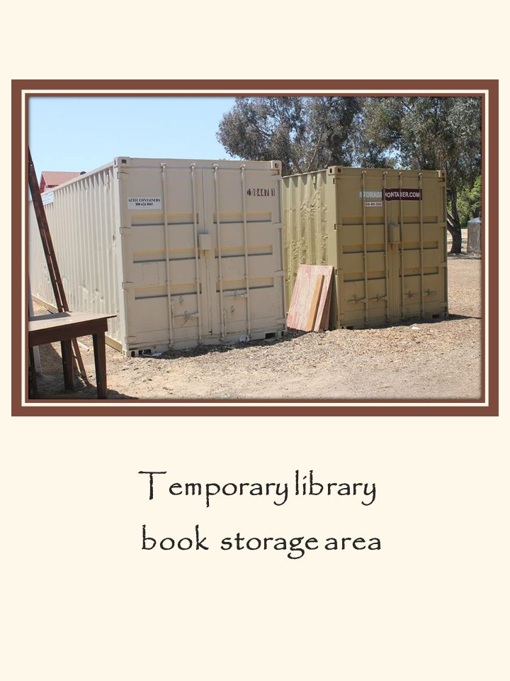 Temporary library book storage area
