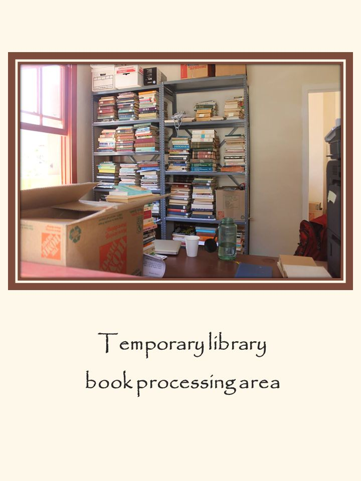 Temporary library book processing area