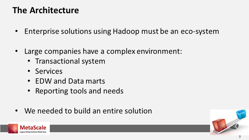 The Architecture Enterprise solutions using Hadoop must be an eco-system. Large companies have a complex environment: