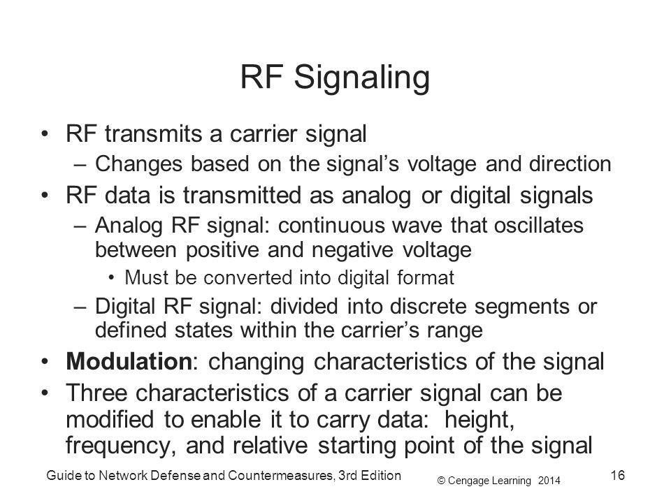 RF Signaling RF transmits a carrier signal