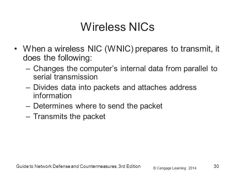 Wireless NICs When a wireless NIC (WNIC) prepares to transmit, it does the following:
