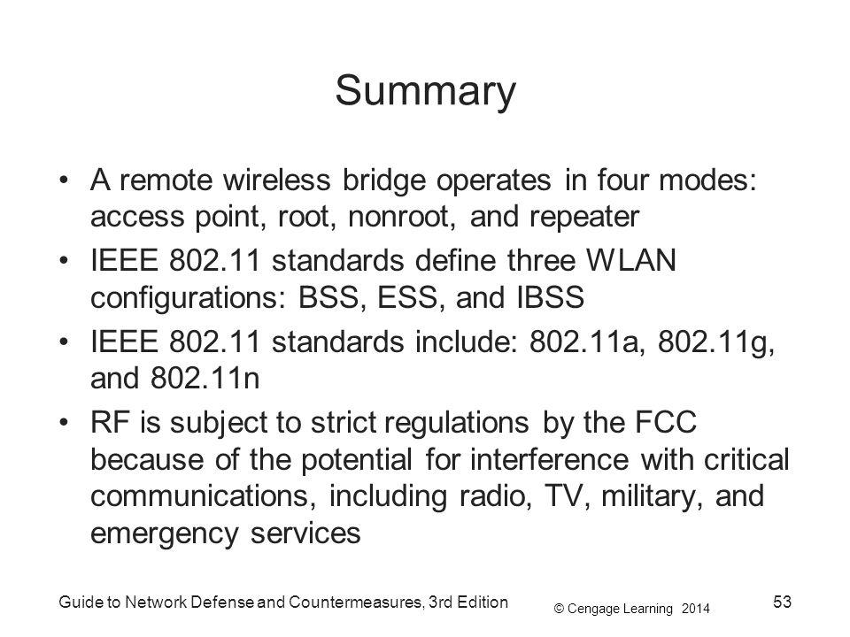 Summary A remote wireless bridge operates in four modes: access point, root, nonroot, and repeater.