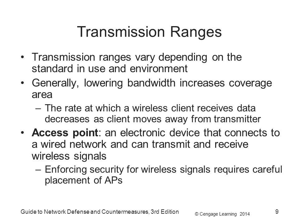 Transmission Ranges Transmission ranges vary depending on the standard in use and environment. Generally, lowering bandwidth increases coverage area.
